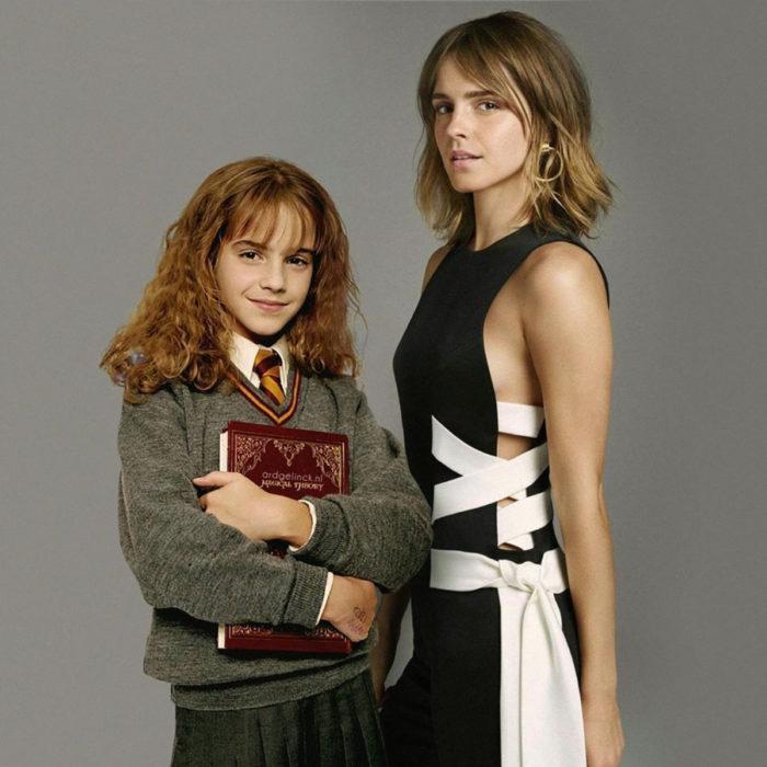 Fotografías de actores junto a personajes que interpretaron; Harry Potter, Hermione Granger, Emma Watson