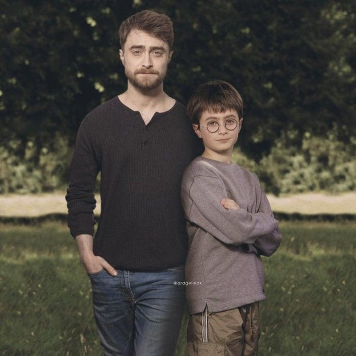 Fotografías de actores junto a personajes que interpretaron; Harry Potter, Daniel Radcliffe