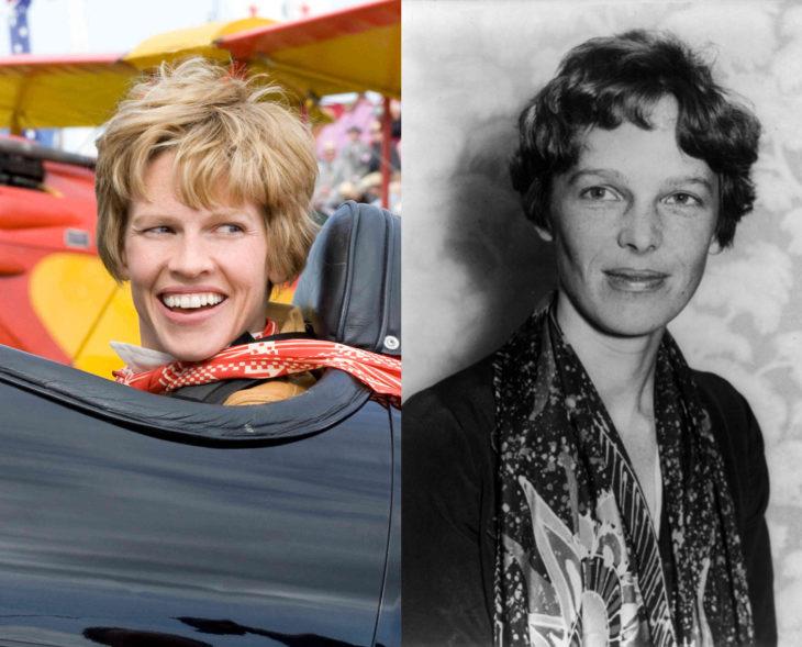 Actores que se parecen a los personajes históricos que interpretaron en películas; Hilary Swank, Amelia Earthart