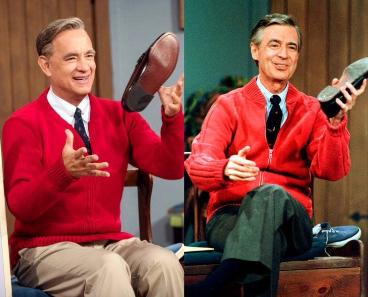 Actores que se parecen a los personajes históricos que interpretaron en películas; Tom Hanks, Fred Rogers, Un buen día en el vecindario