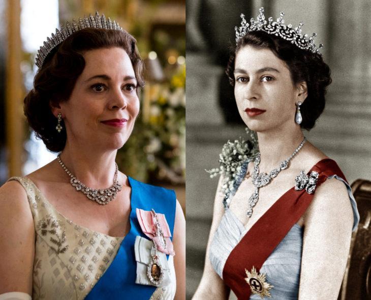 Actores que se parecen a los personajes históricos que interpretaron en películas; Olivia Colman, Reina Elizabeth II, Isabel, The Crown