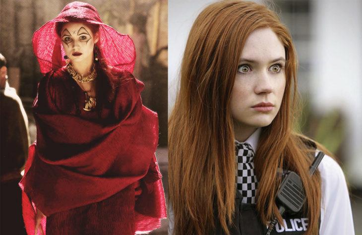 Karen Gillan interpretando a dos personajes diferentes en la serie Doctor Who