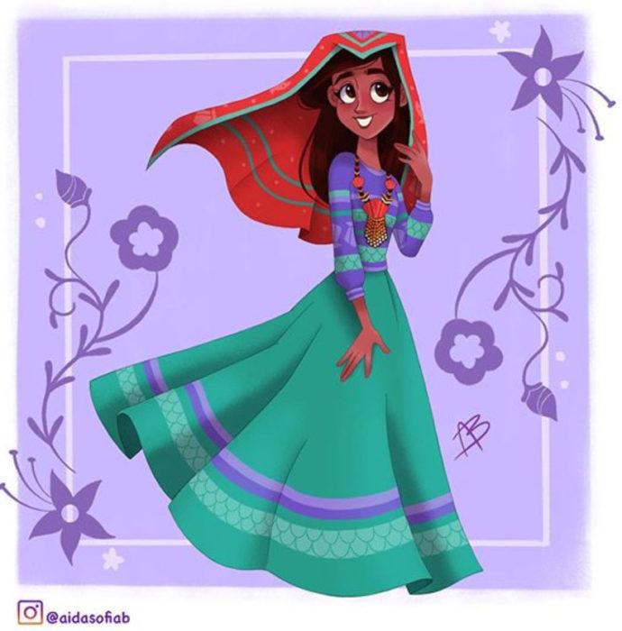 Ilustración de Aida Sofia Barba de la princesa Ariel usando el traje típico del estado de Nayarit
