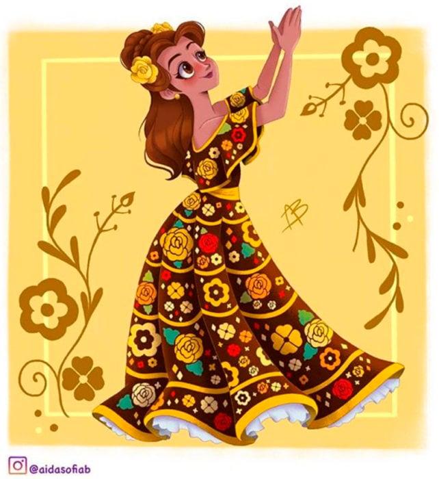 Ilustración de Aida Sofia Barba de la princesa Bella usando el traje típico del estado de Chiapas