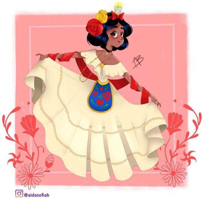 Ilustración de Aida Sofia Barba de la princesa Blancanieves usando el traje típico del estado de Veracruz