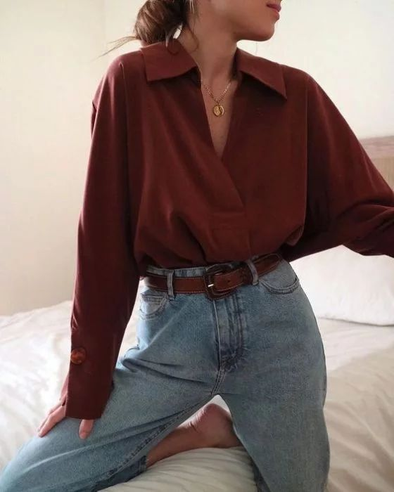 Blouse with neckline, cherry color, shirt type, long sleeves