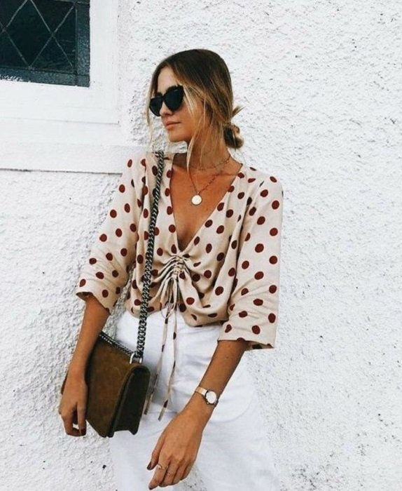 Blouse with neckline, beige with cherry polka dots with three quarter sleeves