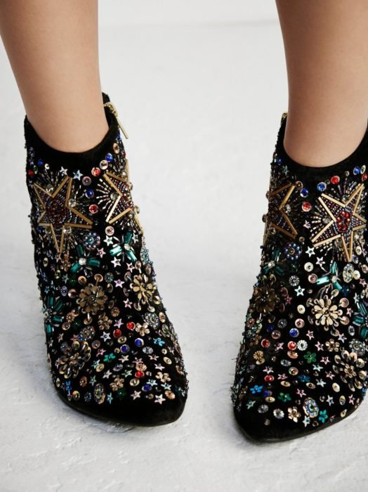 Ankle boots with embroidered details, black with rhinestones
