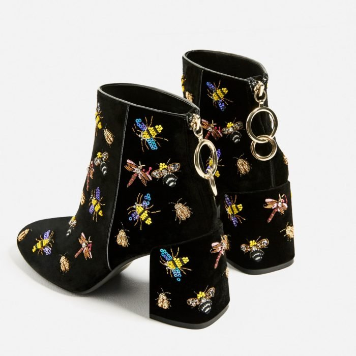 Ankle boots with embroidered details, in black and bumblebee details