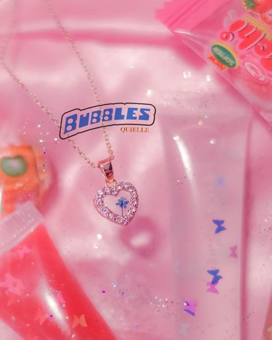 Kyel's necklace inspired by Bubble from the powerpuff girls