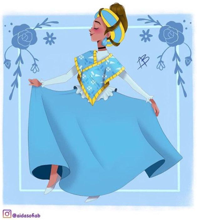 Ilustración de Aida Sofia Barba de la princesa Cenicienta usando el traje típico del estado de la Huasteca Potosina