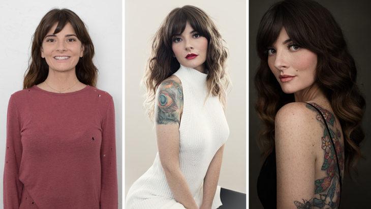 Fotografía de Emily London.  Chica llevando diversos ourtifts y peinados para mostrar sus tatuajes