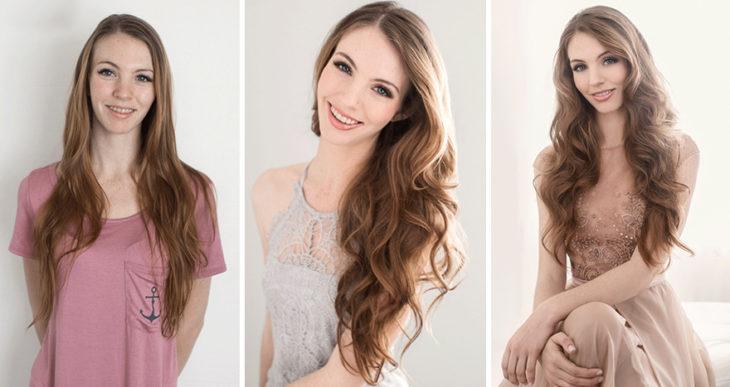 Fotografía de Emily London.  Chica con cabellera larga, pelirroja y rizada llevando tres outfits diferentes