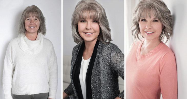 Fotografía de Emily London.  Mujer adulta en tres fotos distintas llevando diversos outfits en tonos neutros