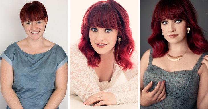 Fotografía de Emily London. Mujer con cabello corto teñido de rojo llevando outfits distintos