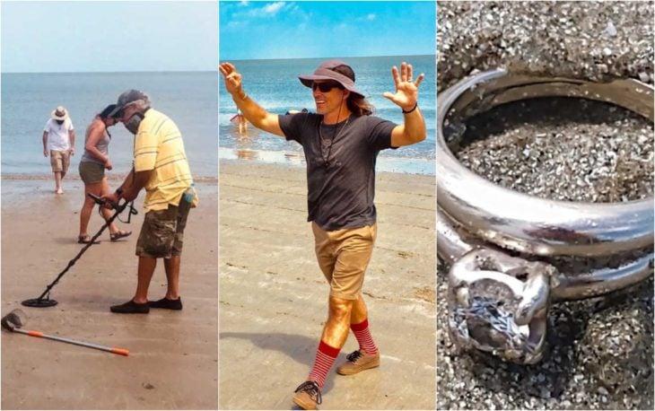 Personas buscando un anillo de compromiso en la orilla del mar