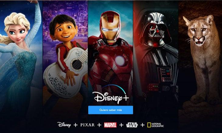 Imagen de publicidad de Disney+ y que contenido ofrece