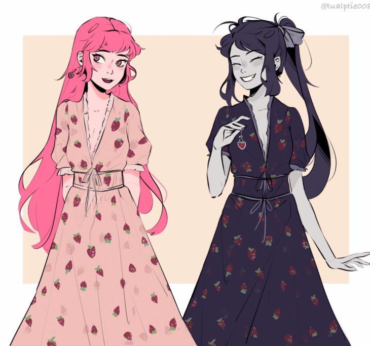 marceline y princesa chicle versión anime con vestido de fresas