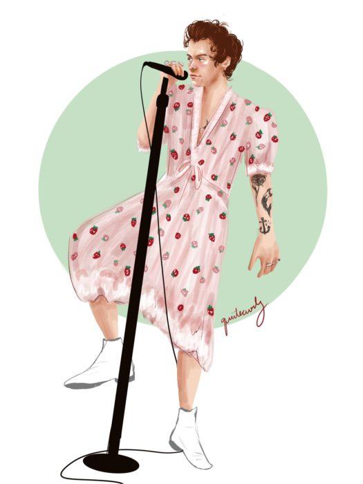 Harry Style con vestido de fresas