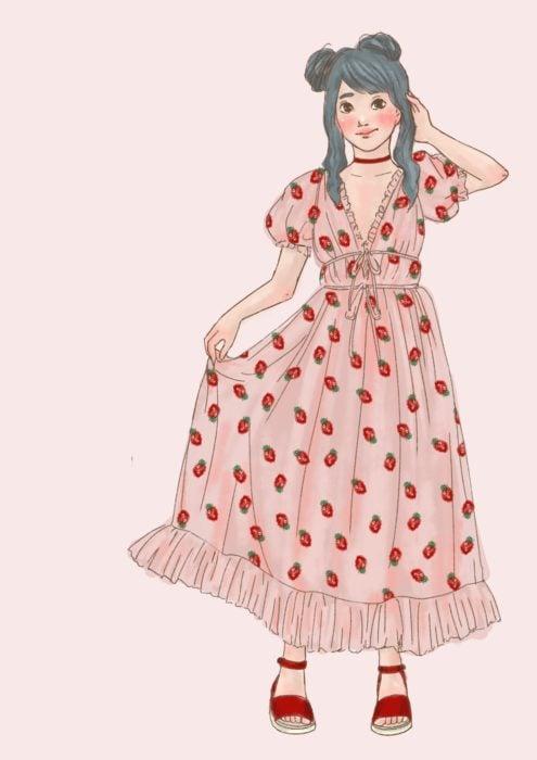 Anime con vestido de fresas