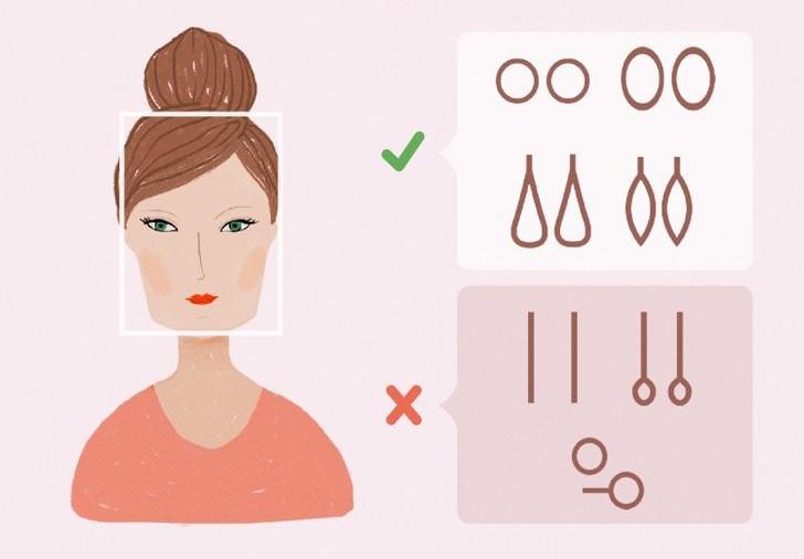 Ilustración de chica con rostro cuadrado y el tipo de pendientes que mejor le van según la forma de su rostros