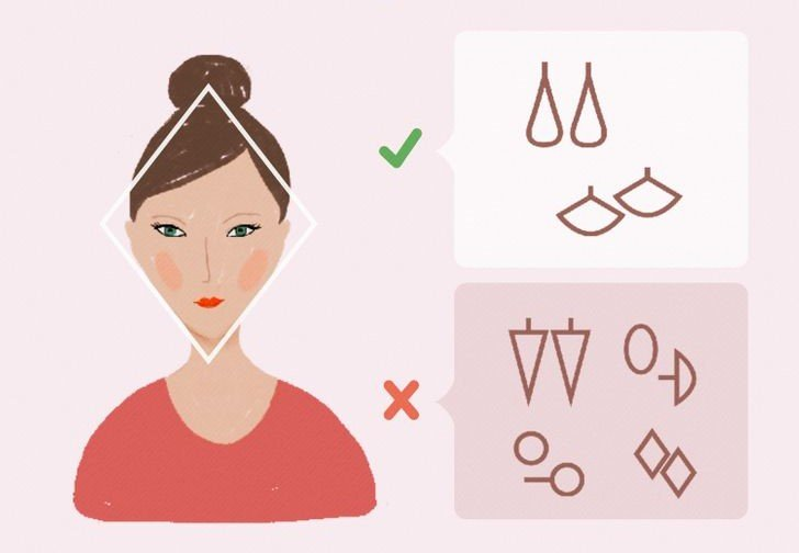 Ilustración de chica con rostro diamante y el tipo de pendientes que mejor le van según la forma de su rostros