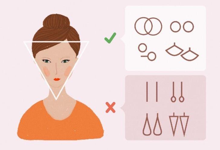 Ilustración de chica con rostro triangular y el tipo de pendientes que mejor le van según la forma de su rostros