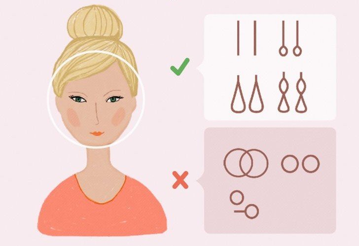 Ilustración de chica con rostro redondo y el tipo de pendientes que mejor le van según la forma de su rostros