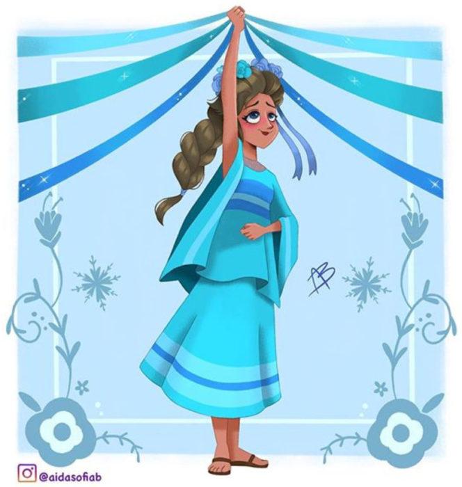 Ilustración de Aida Sofia Barba de la princesa Elsa usando el traje típico del estado de Morelos