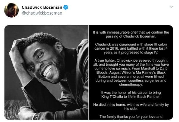 Comunicado en twitter sobre la muerte del actor Chadwick Boseman
