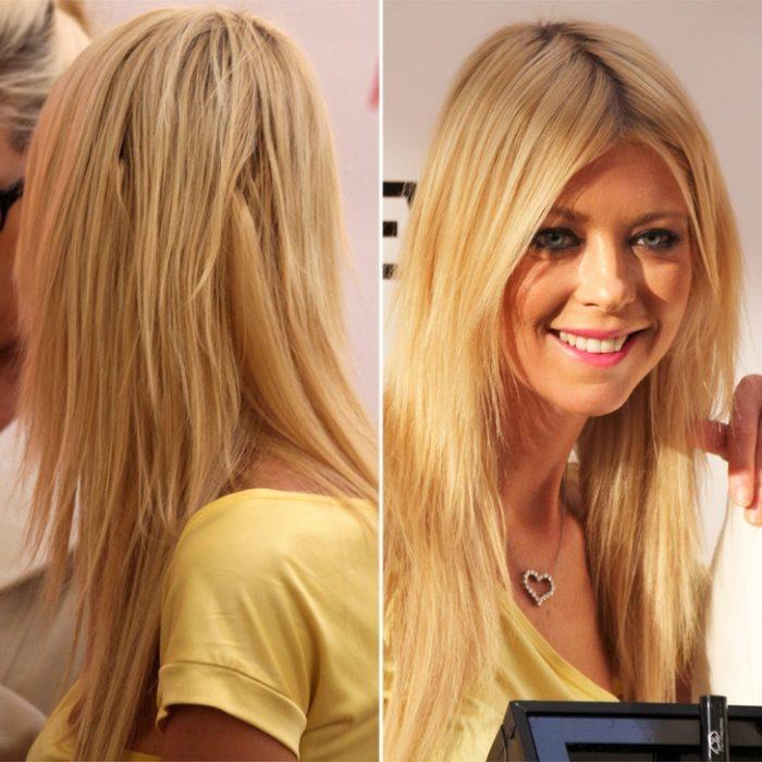Tara Reid con extensiones rubias de cabello