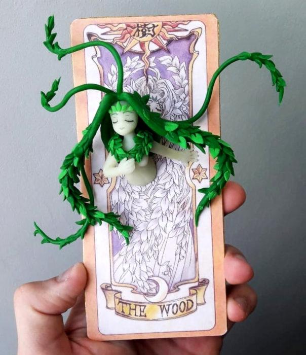 Artista escultor Luki Art crea pequeñas figuras de personajes de caricaturas y películas; Sakura Card Captor, Carta Clow, El bosque
