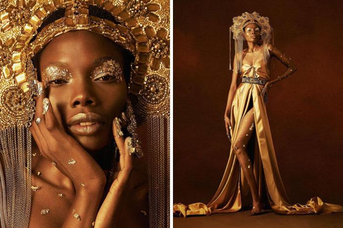 Chica negra con atuendo dorado y tocado grande