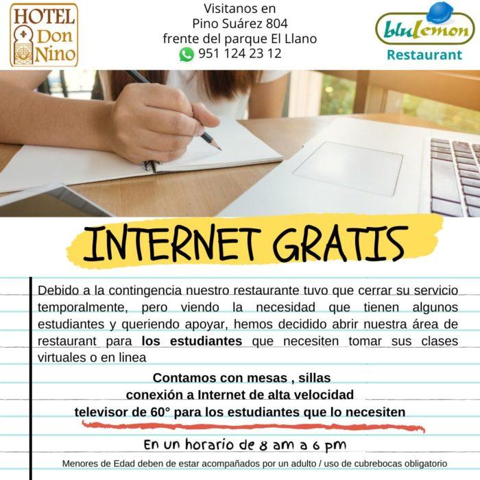 Flyer informativo de Hotel don nino dnado a conocer la ayuda a estudiantes