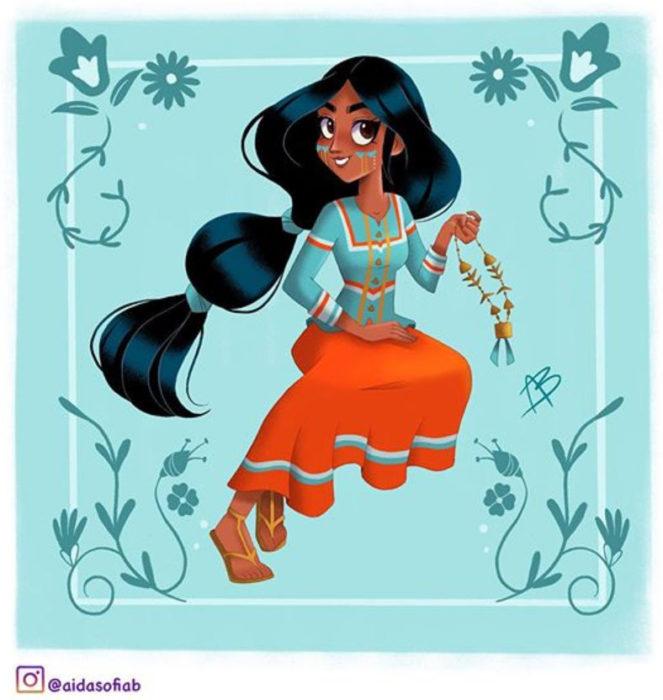 Ilustración de Aida Sofia Barba de la princesa Jasmin usando el traje típico del estado de Sonora