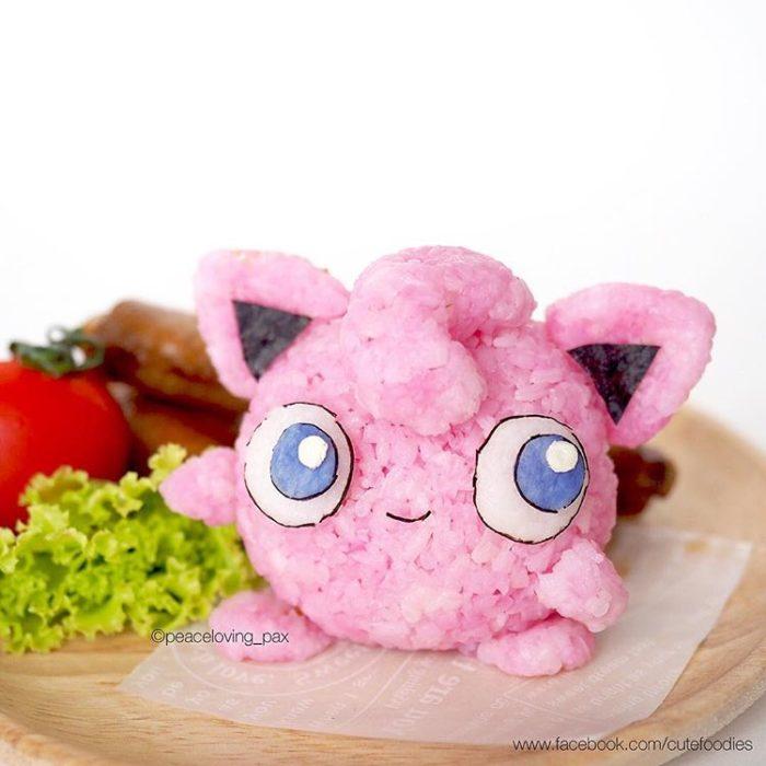 Platillo de comida inspirado en el pokémon Jigglypuff