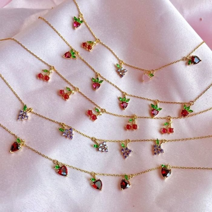 Fruit necklace with gold chain