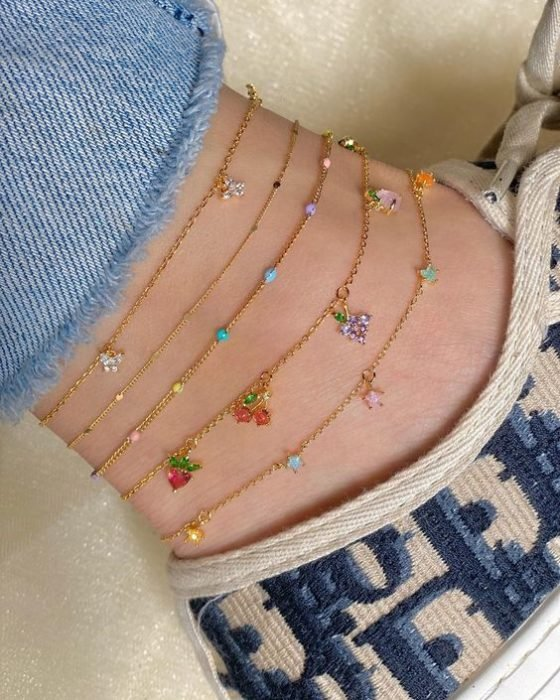 Strawberry anklets with golden chain