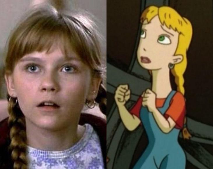 Actores que se parecen mucho al personaje animado que interpretaron; Kirsten Dunst, Judy Shepherd, Jumanji