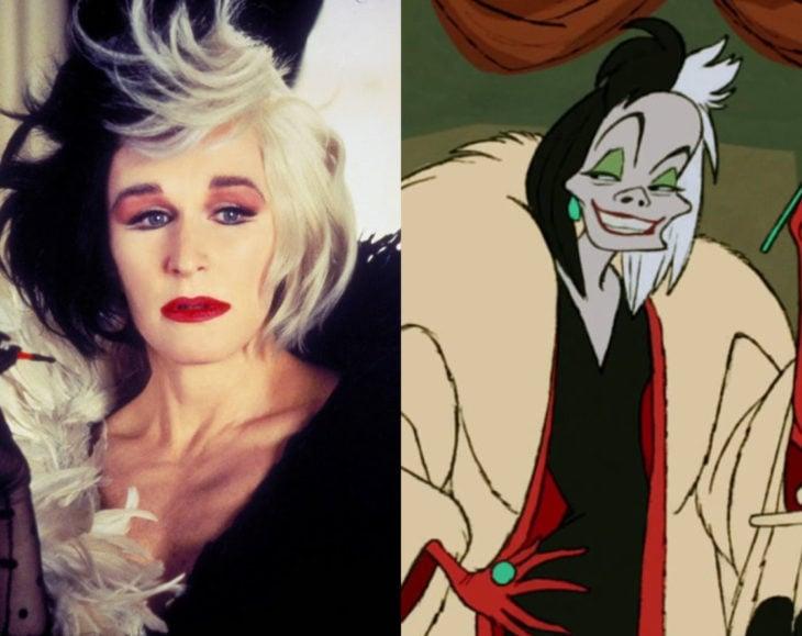 Actores que se parecen mucho al personaje animado que interpretaron; Glenn Close, Cruella de Vil, 101 dálmatas