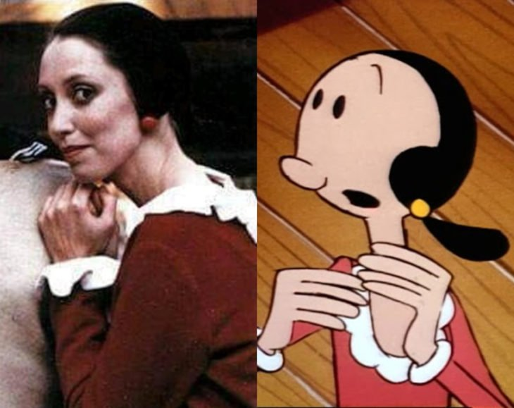 Actores que se parecen mucho al personaje animado que interpretaron; Shelley Duvall, Olivia Olivo, Popeye