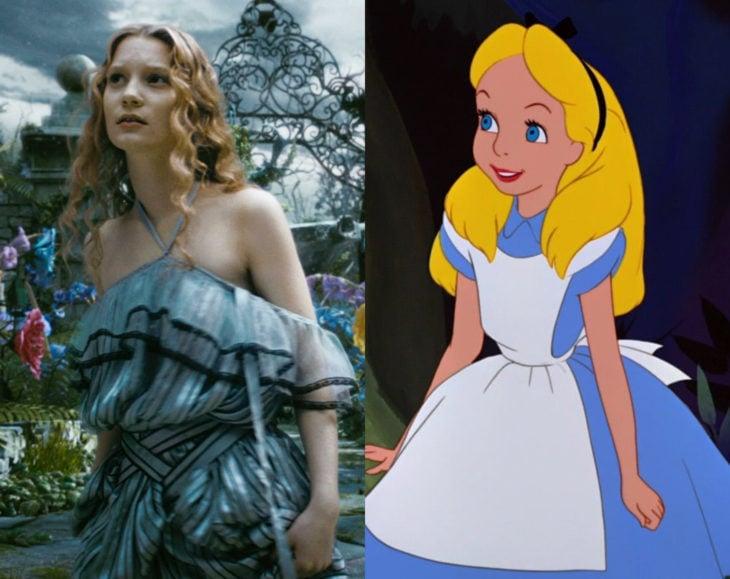 Actores que se parecen mucho al personaje animado que interpretaron; Mia Easikowska, Alicia en el país de las maravillas