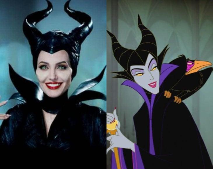 Actores que se parecen mucho al personaje animado que interpretaron; Angelina Jolie, Maléfica