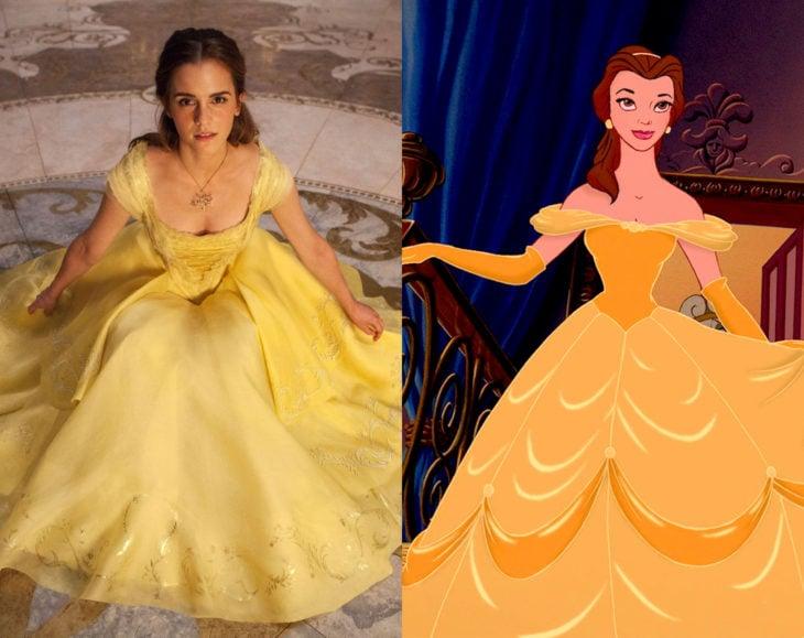 Actores que se parecen mucho al personaje animado que interpretaron; Emma Watson, Bella, La bella y la bestia