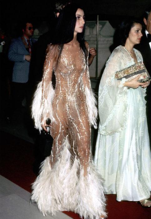 Looks icónicos de Cher; vestido con transparencias, brillos y plumas blancas, cabello lacio, largo, lacio y negro