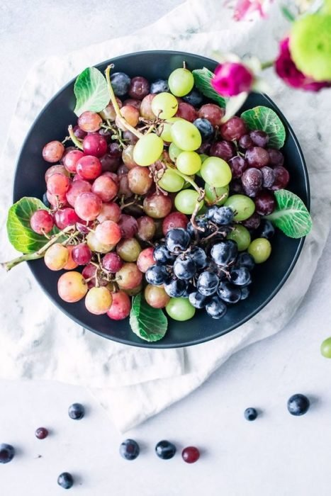 Colored grapes on a round plate