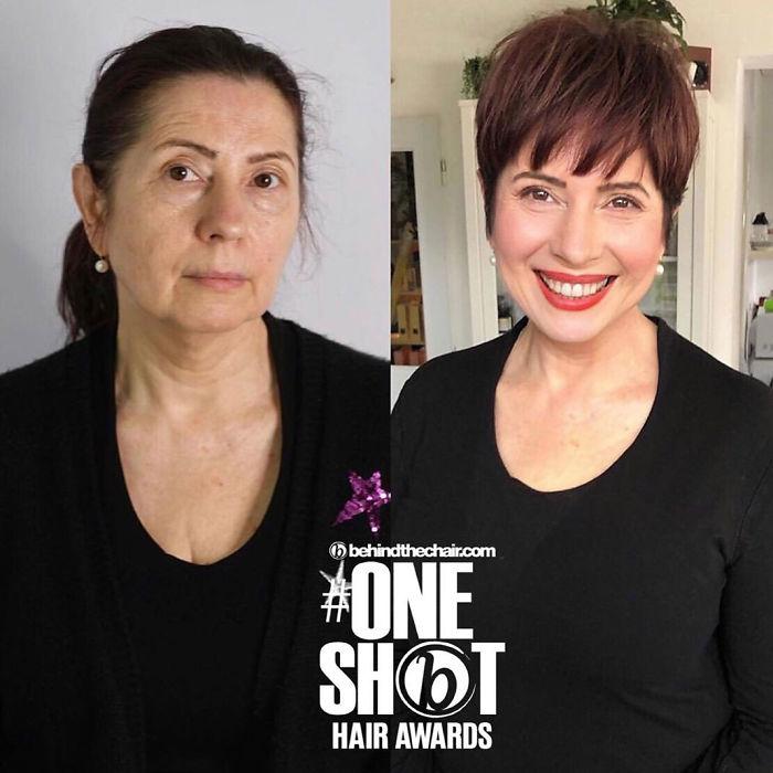 Antes y después corte y tinte cabello en mujeres