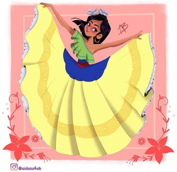 Ilustración de Aida Sofia Barba de Mulán usando el traje típico del estado de Sinaloa