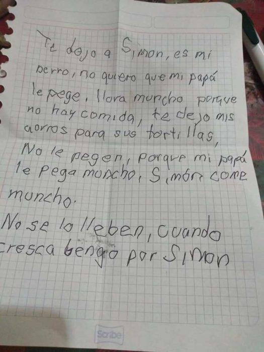 Carta de un niño dejando a su perro Simón en un albergue animal