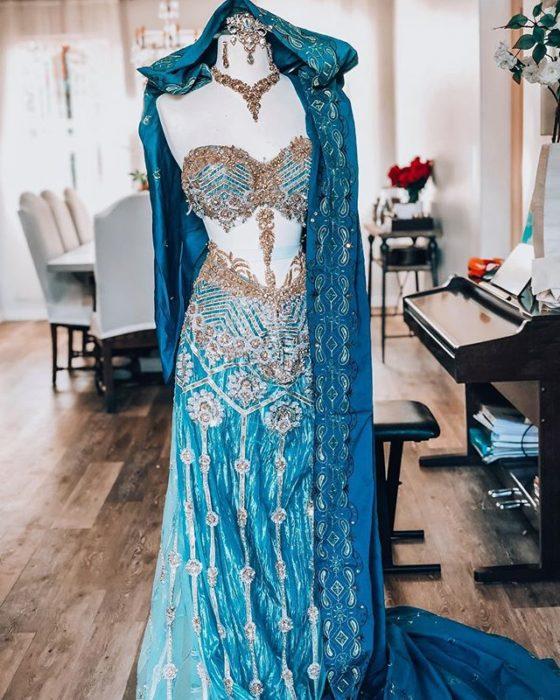 Vestido creado por Nephi García, inspirado en la princesa Disney, Jazmín